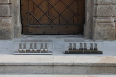 Zen Nixie Clocks in front of the castle where they are built
