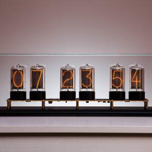 Zen Nixie Clock, transparent case, black satin