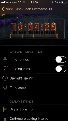 Screen with settings of a particular clock